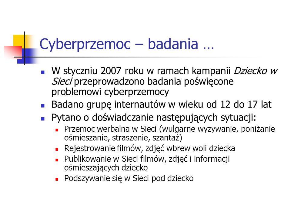 Cyberprzemoc – badania … W styczniu 2007 roku w ramach kampanii Dziecko w Sieci przeprowadzono badania poświęcone problemowi cyberprzemocy Badano grup