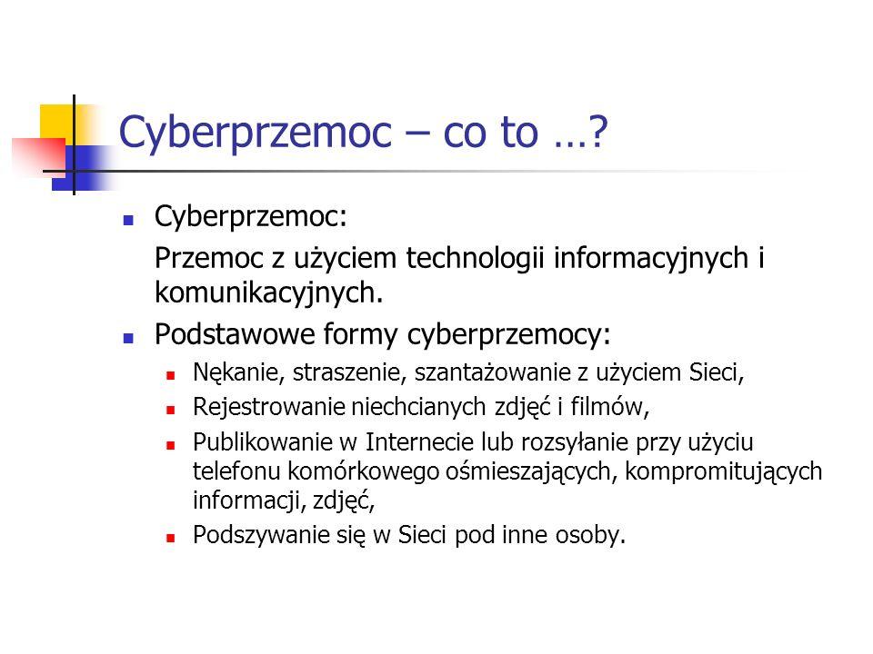 Cyberprzemoc – co to …? Cyberprzemoc: Przemoc z użyciem technologii informacyjnych i komunikacyjnych. Podstawowe formy cyberprzemocy: Nękanie, strasze