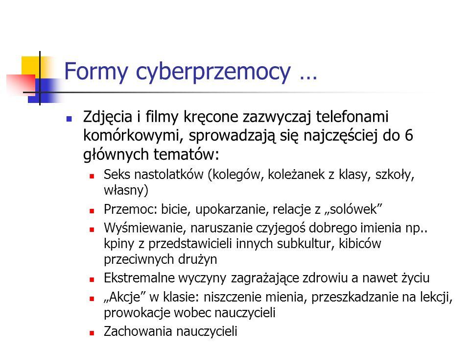 Formy cyberprzemocy … Zdjęcia i filmy kręcone zazwyczaj telefonami komórkowymi, sprowadzają się najczęściej do 6 głównych tematów: Seks nastolatków (k