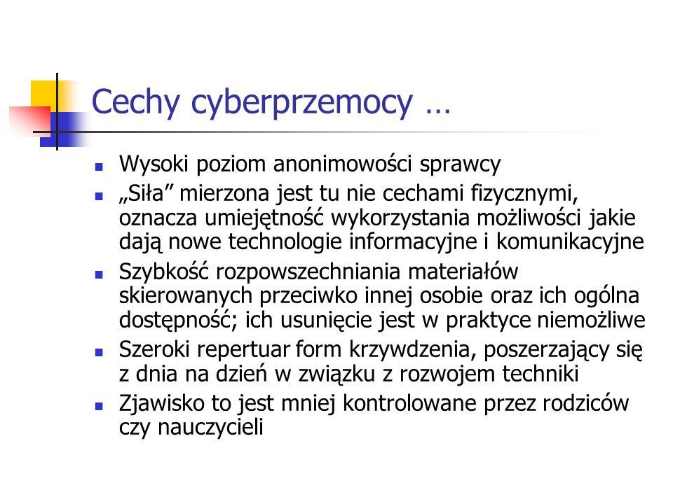 Cechy cyberprzemocy … Wysoki poziom anonimowości sprawcy Siła mierzona jest tu nie cechami fizycznymi, oznacza umiejętność wykorzystania możliwości ja