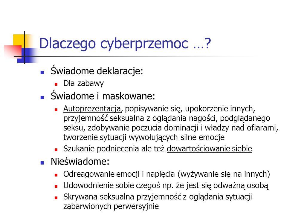 Dlaczego cyberprzemoc …? Świadome deklaracje: Dla zabawy Świadome i maskowane: Autoprezentacja, popisywanie się, upokorzenie innych, przyjemność seksu