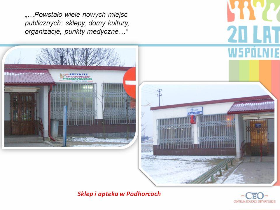 Sklep i apteka w Podhorcach …Powstało wiele nowych miejsc publicznych: sklepy, domy kultury, organizacje, punkty medyczne…