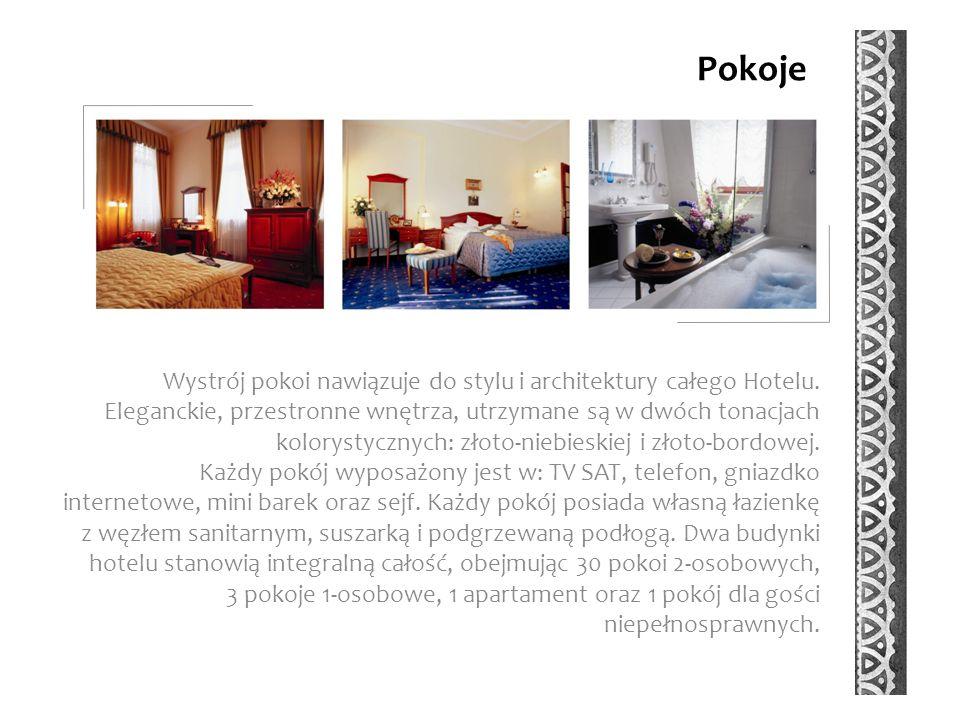 Pokoje Wystrój pokoi nawiązuje do stylu i architektury całego Hotelu.