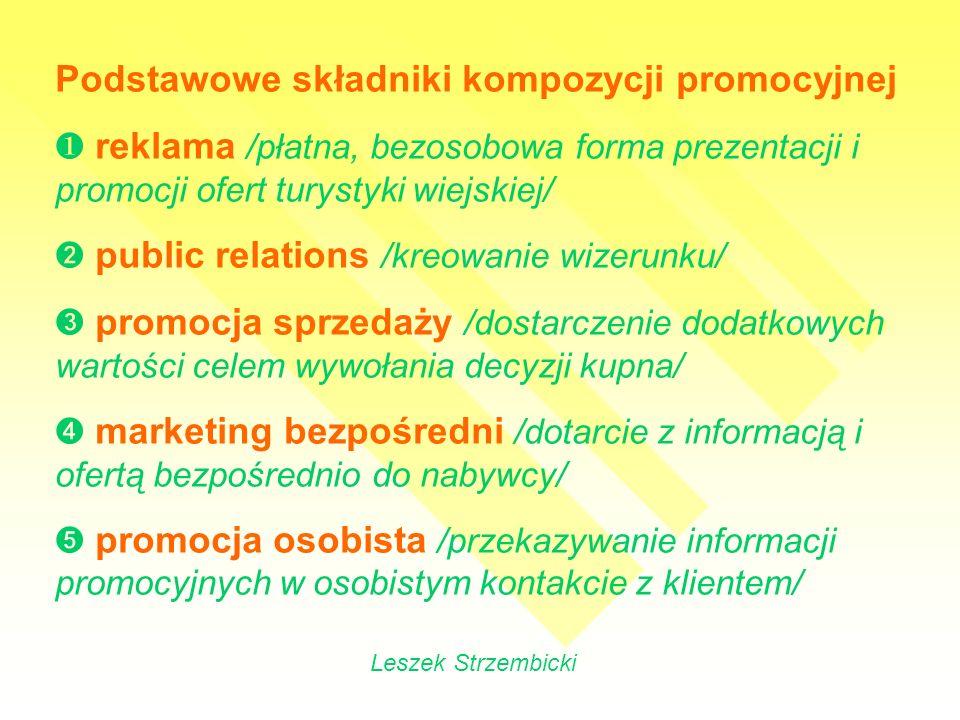 Instrumenty promocji – układ hierarchiczny elementy promocji mix /reklama, public relations, promocja sprzedaży, marketing bezpośredni, promocja osobista/ środki promocji /szeroko rozumiane media – kanały komunikowania się/ formy promocji /wiele form przekazu oferowanych przez poszczególne media/ treść i wygląd komunikatów /tworzymy je po ustaleniu formy promocji/ Leszek Strzembicki
