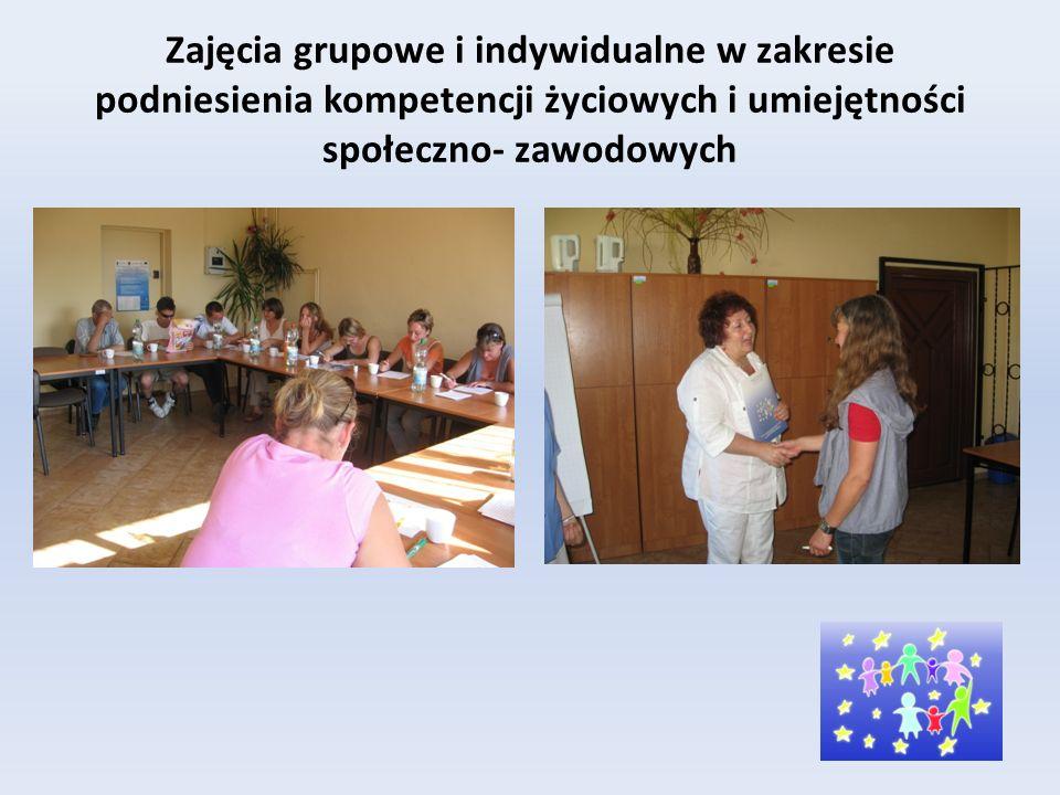Zajęcia grupowe i indywidualne w zakresie podniesienia kompetencji życiowych i umiejętności społeczno- zawodowych
