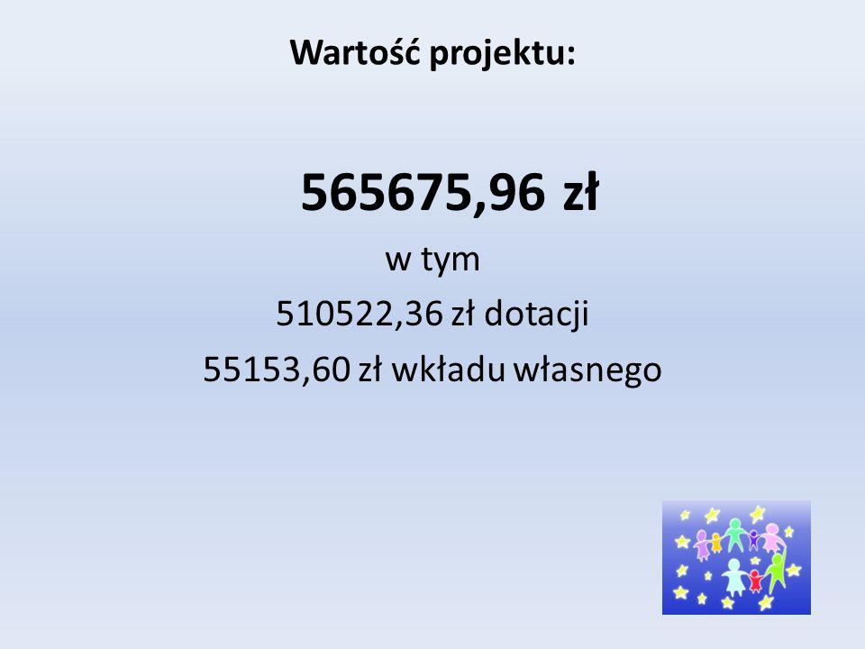 Wartość projektu: 565675,96 zł w tym 510522,36 zł dotacji 55153,60 zł wkładu własnego