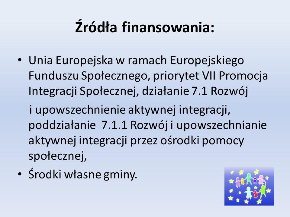Źródła finansowania: Unia Europejska w ramach Europejskiego Funduszu Społecznego, priorytet VII Promocja Integracji Społecznej, działanie 7.1 Rozwój i upowszechnienie aktywnej integracji, poddziałanie 7.1.1 Rozwój i upowszechnianie aktywnej integracji przez ośrodki pomocy społecznej, Środki własne gminy.