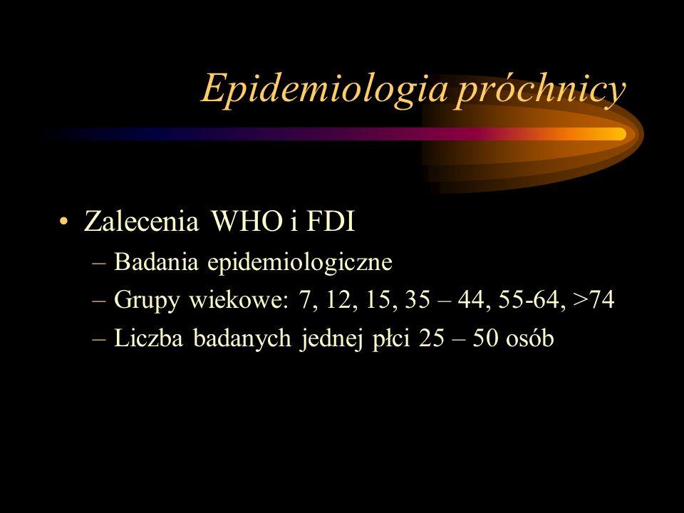 Epidemiologia próchnicy Oznaczenia stanu uzębienia –Zęby stałe: P, U, W –Zęby mleczne: p, u, w