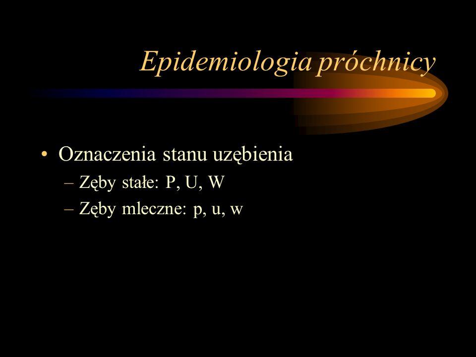 Epidemiologia próchnicy Wskaźnik PUW (puw) Palmera i Kleina –Suma liczby PUW (puw) / liczba zębów charakterystyczna dla danego wieku Frekwencja próchnicy –(liczba osób z próchnicą / liczba osób badanych) x 100 Intensywność próchnicy –PUW / n –n to liczba osób z wartościami PUW > 0