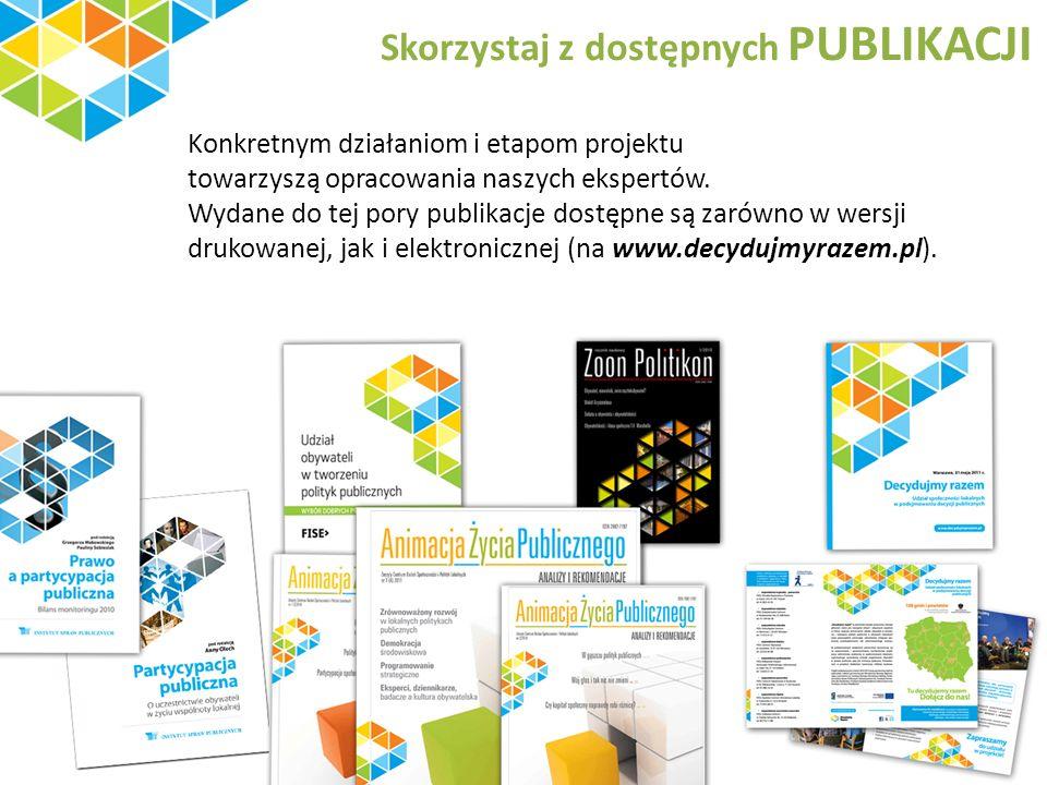 Skorzystaj z dostępnych PUBLIKACJI Konkretnym działaniom i etapom projektu towarzyszą opracowania naszych ekspertów.
