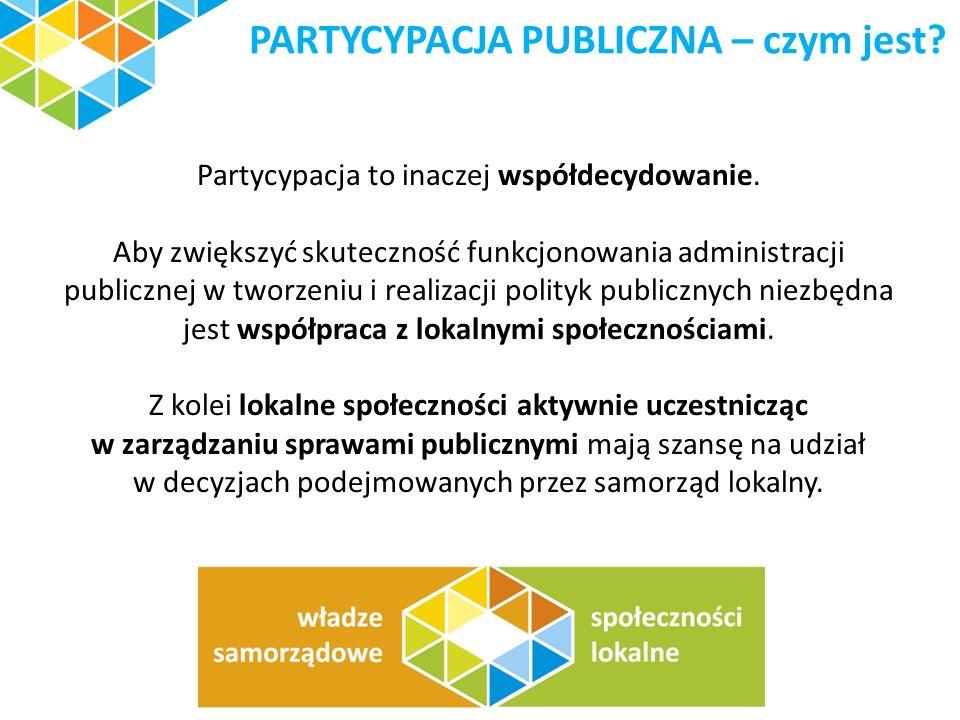 PARTYCYPACJA PUBLICZNA – czym jest? Partycypacja to inaczej współdecydowanie. Aby zwiększyć skuteczność funkcjonowania administracji publicznej w twor