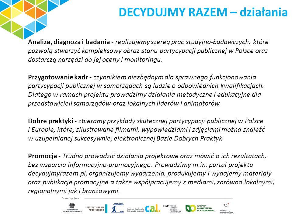 DECYDUJMY RAZEM – działania Analiza, diagnoza i badania - realizujemy szereg prac studyjno-badawczych, które pozwolą stworzyć kompleksowy obraz stanu partycypacji publicznej w Polsce oraz dostarczą narzędzi do jej oceny i monitoringu.