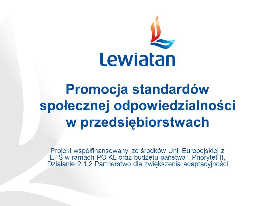 Promocja standardów społecznej odpowiedzialności w przedsiębiorstwach Projekt współfinansowany ze środków Unii Europejskiej z EFS w ramach PO KL oraz budżetu państwa - Priorytet II, Działanie 2.1.2 Partnerstwo dla zwiększenia adaptacyjności