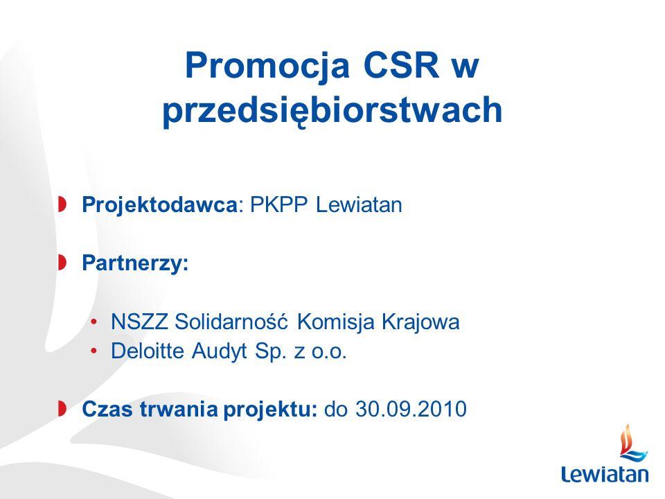 Promocja CSR w przedsiębiorstwach Projektodawca: PKPP Lewiatan Partnerzy: NSZZ Solidarność Komisja Krajowa Deloitte Audyt Sp. z o.o. Czas trwania proj