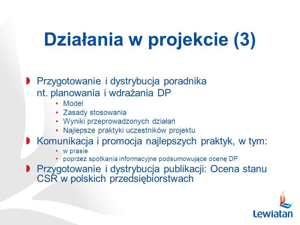 Działania w projekcie (3) Przygotowanie i dystrybucja poradnika nt. planowania i wdrażania DP Model Zasady stosowania Wyniki przeprowadzonych działań