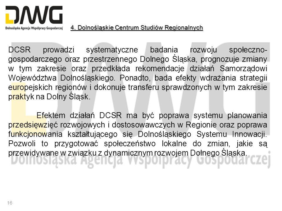 DCSR prowadzi systematyczne badania rozwoju społeczno- gospodarczego oraz przestrzennego Dolnego Śląska, prognozuje zmiany w tym zakresie oraz przedkł