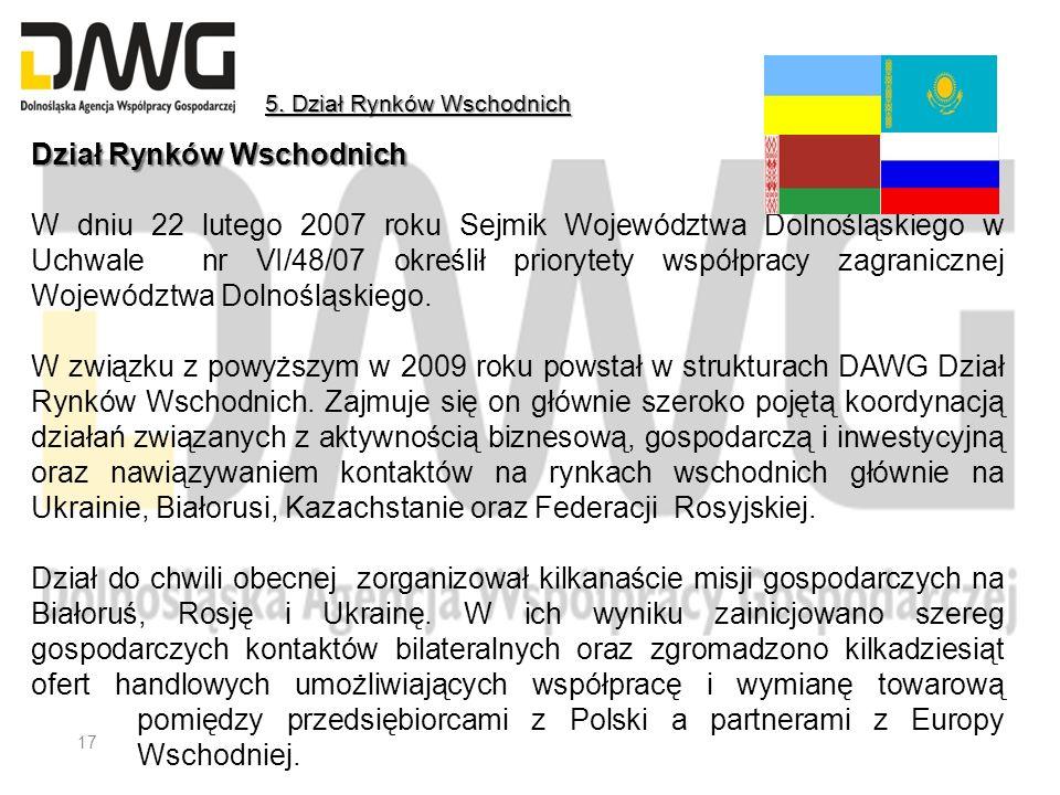 Dział Rynków Wschodnich W dniu 22 lutego 2007 roku Sejmik Województwa Dolnośląskiego w Uchwale nr VI/48/07 określił priorytety współpracy zagranicznej