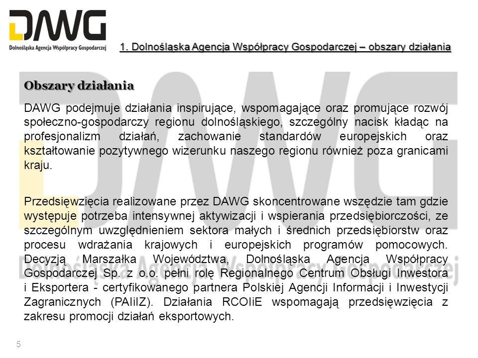 Obszary działania DAWG podejmuje działania inspirujące, wspomagające oraz promujące rozwój społeczno-gospodarczy regionu dolnośląskiego, szczególny na