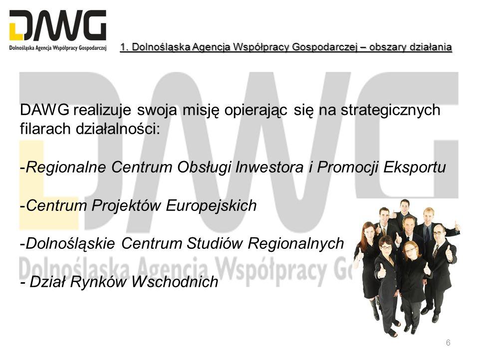 DAWG realizuje swoja misję opierając się na strategicznych filarach działalności: -Regionalne Centrum Obsługi Inwestora i Promocji Eksportu -Centrum P
