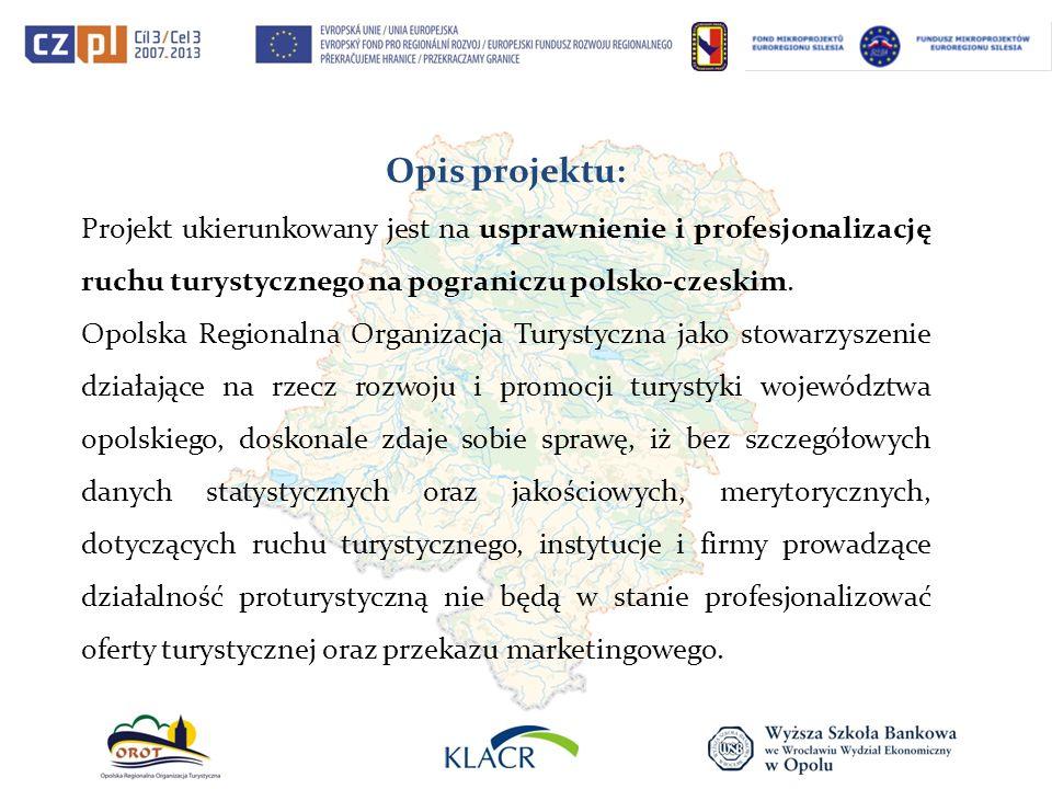 Opis projektu: Projekt ukierunkowany jest na usprawnienie i profesjonalizację ruchu turystycznego na pograniczu polsko-czeskim. Opolska Regionalna Org