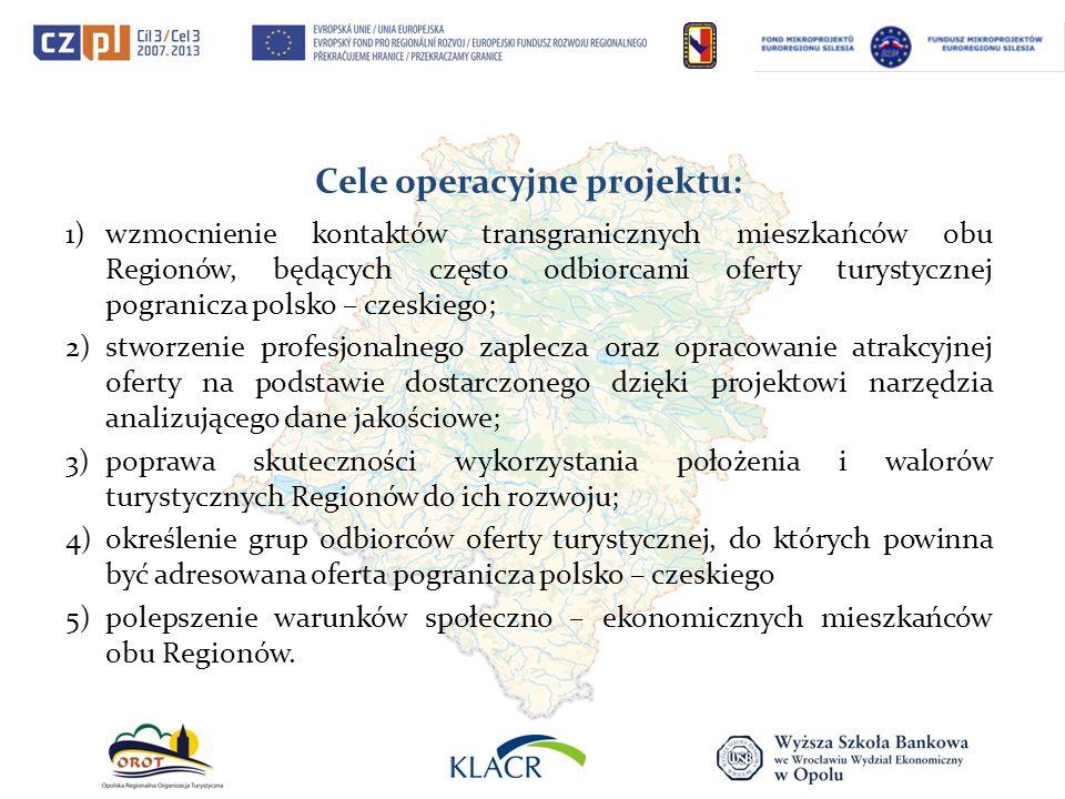 Cele operacyjne projektu: 1)wzmocnienie kontaktów transgranicznych mieszkańców obu Regionów, będących często odbiorcami oferty turystycznej pogranicza