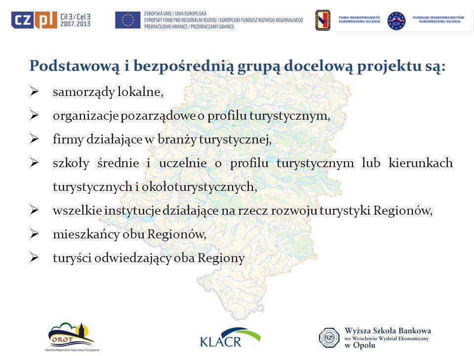 Podstawową i bezpośrednią grupą docelową projektu są: samorządy lokalne, organizacje pozarządowe o profilu turystycznym, firmy działające w branży tur