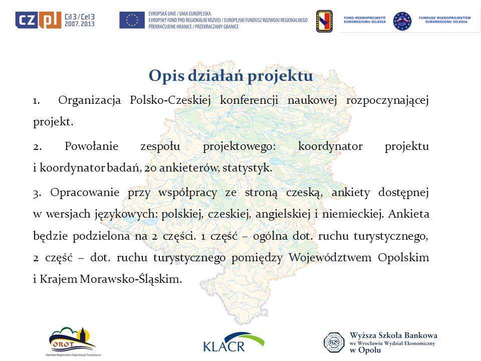 Opis działań projektu 1. Organizacja Polsko-Czeskiej konferencji naukowej rozpoczynającej projekt. 2. Powołanie zespołu projektowego: koordynator proj