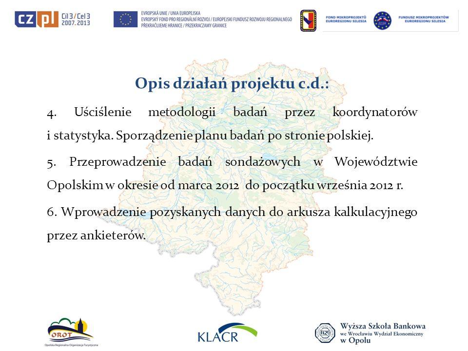 Opis działań projektu c.d.: 4. Uściślenie metodologii badań przez koordynatorów i statystyka. Sporządzenie planu badań po stronie polskiej. 5. Przepro