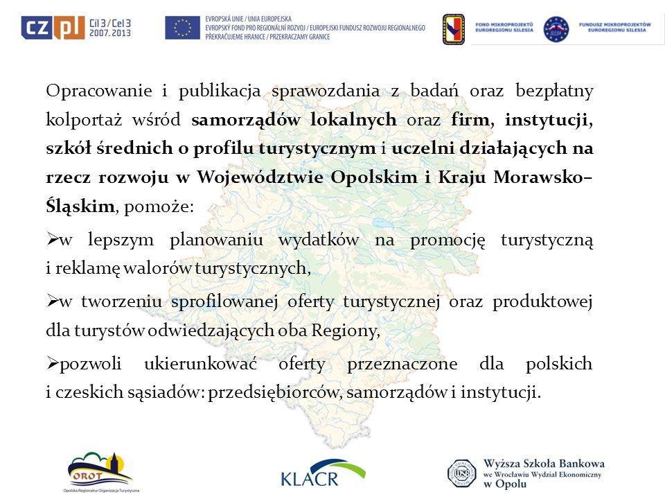 Opracowanie i publikacja sprawozdania z badań oraz bezpłatny kolportaż wśród samorządów lokalnych oraz firm, instytucji, szkół średnich o profilu tury