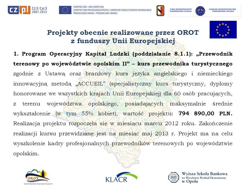 Projekty obecnie realizowane przez OROT z funduszy Unii Europejskiej 1. Program Operacyjny Kapitał Ludzki (poddziałanie 8.1.1): Przewodnik terenowy po