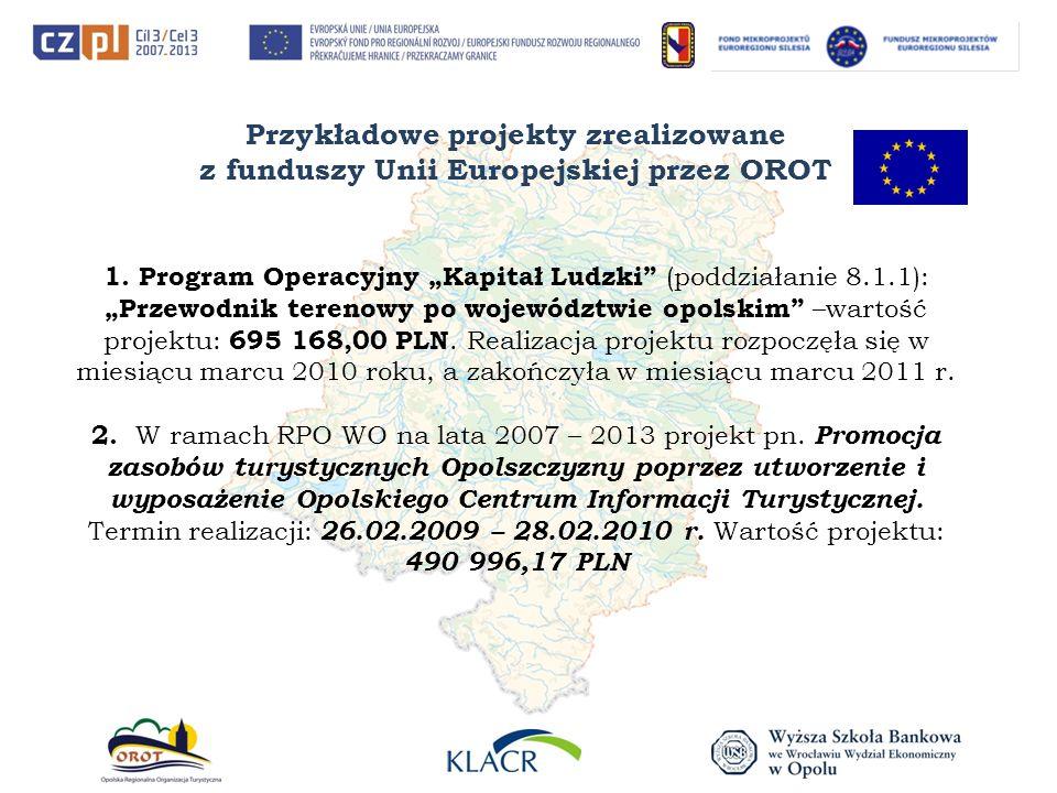 Przykładowe projekty zrealizowane z funduszy Unii Europejskiej przez OROT 1. Program Operacyjny Kapitał Ludzki (poddziałanie 8.1.1): Przewodnik tereno