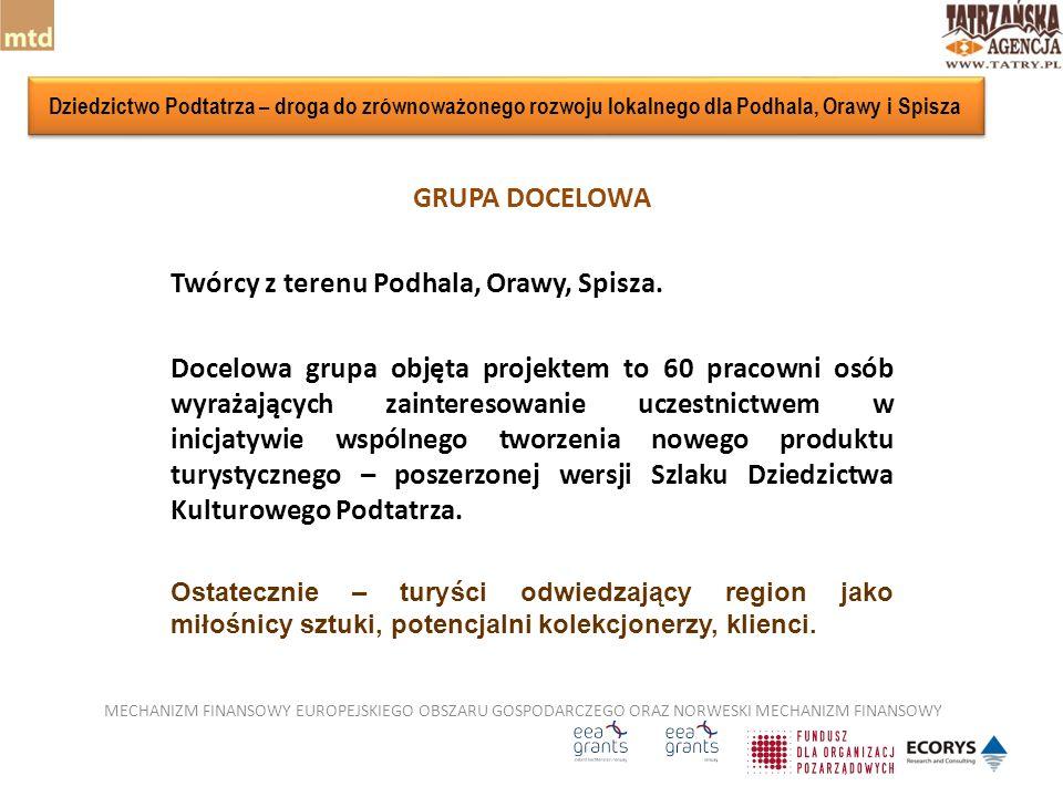 GRUPA DOCELOWA Twórcy z terenu Podhala, Orawy, Spisza.