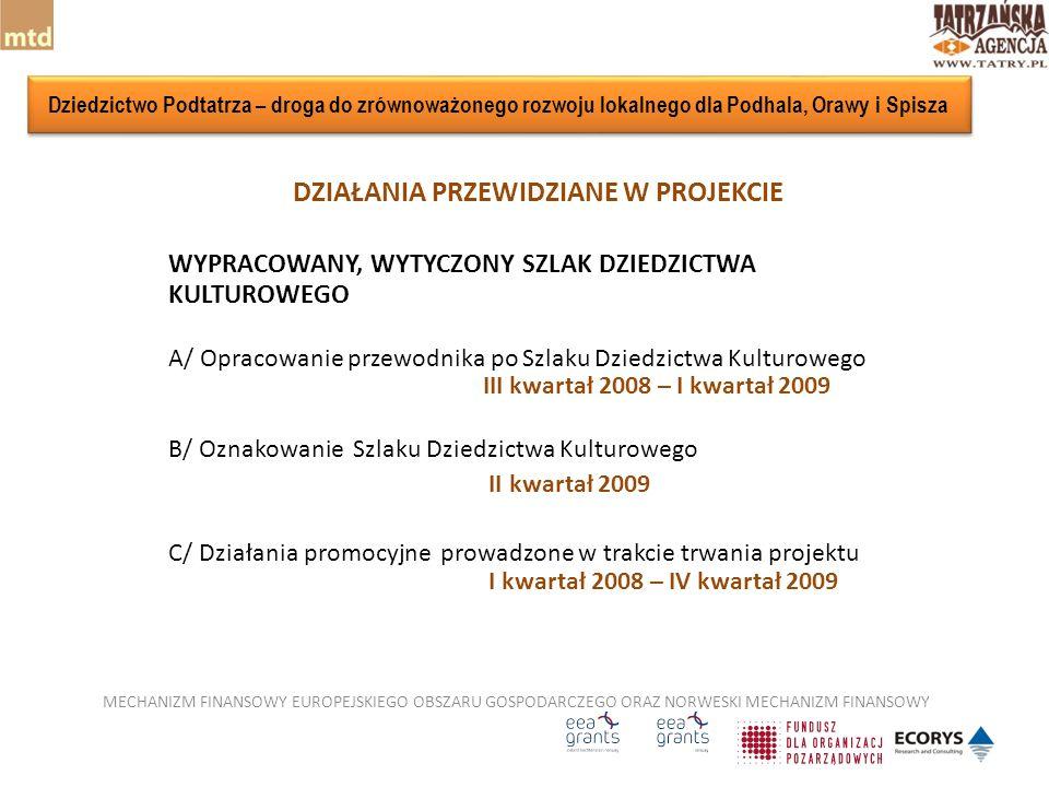 DZIAŁANIA PRZEWIDZIANE W PROJEKCIE WYPRACOWANY, WYTYCZONY SZLAK DZIEDZICTWA KULTUROWEGO A/ Opracowanie przewodnika po Szlaku Dziedzictwa Kulturowego III kwartał 2008 – I kwartał 2009 B/ Oznakowanie Szlaku Dziedzictwa Kulturowego II kwartał 2009 C/ Działania promocyjne prowadzone w trakcie trwania projektu I kwartał 2008 – IV kwartał 2009 MECHANIZM FINANSOWY EUROPEJSKIEGO OBSZARU GOSPODARCZEGO ORAZ NORWESKI MECHANIZM FINANSOWY