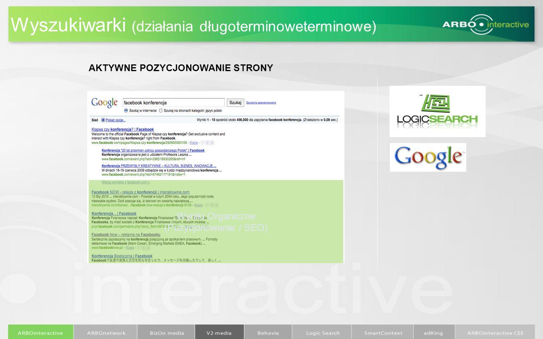 Wyszukiwarki (działania długoterminoweterminowe) AKTYWNE POZYCJONOWANIE STRONY Wyniki Organiczne (Pozycjonowanie / SEO)