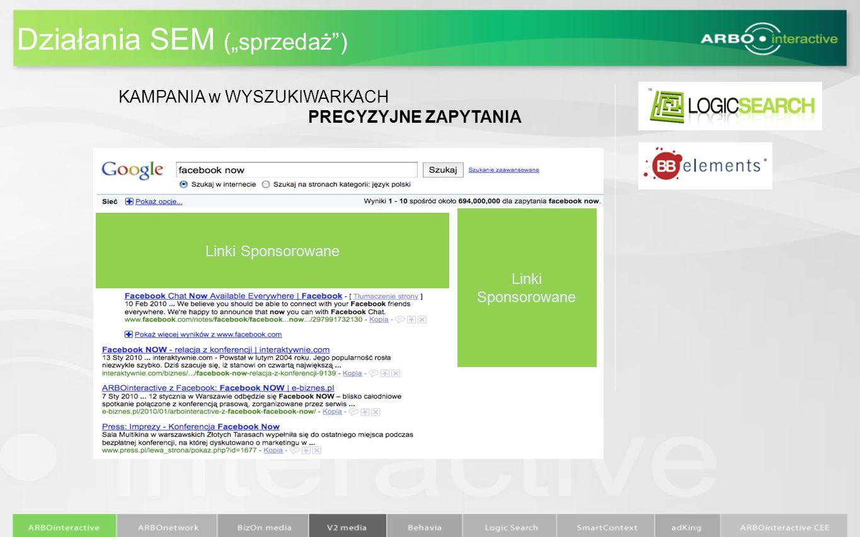 Działania SEM (sprzedaż) Linki Sponsorowane KAMPANIA w WYSZUKIWARKACH PRECYZYJNE ZAPYTANIA
