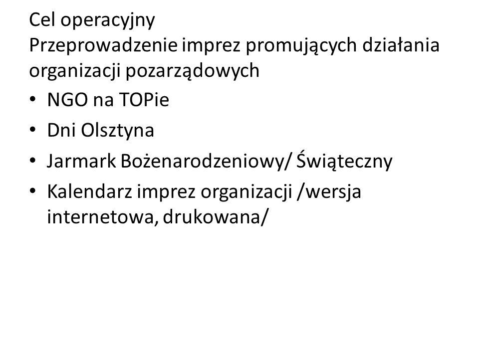 Cel operacyjny Przeprowadzenie imprez promujących działania organizacji pozarządowych NGO na TOPie Dni Olsztyna Jarmark Bożenarodzeniowy/ Świąteczny Kalendarz imprez organizacji /wersja internetowa, drukowana/