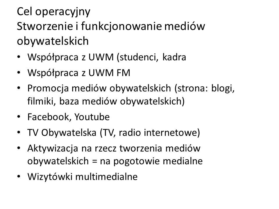 Cel operacyjny Stworzenie i funkcjonowanie mediów obywatelskich Współpraca z UWM (studenci, kadra Współpraca z UWM FM Promocja mediów obywatelskich (strona: blogi, filmiki, baza mediów obywatelskich) Facebook, Youtube TV Obywatelska (TV, radio internetowe) Aktywizacja na rzecz tworzenia mediów obywatelskich = na pogotowie medialne Wizytówki multimedialne