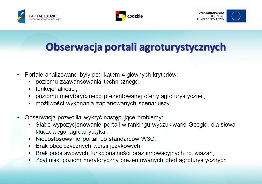 Obserwacja portali agroturystycznych Portale analizowane były pod kątem 4 głównych kryteriów: poziomu zaawansowania technicznego, funkcjonalności, poziomu merytorycznego prezentowanej oferty agroturystycznej, możliwości wykonania zaplanowanych scenariuszy.