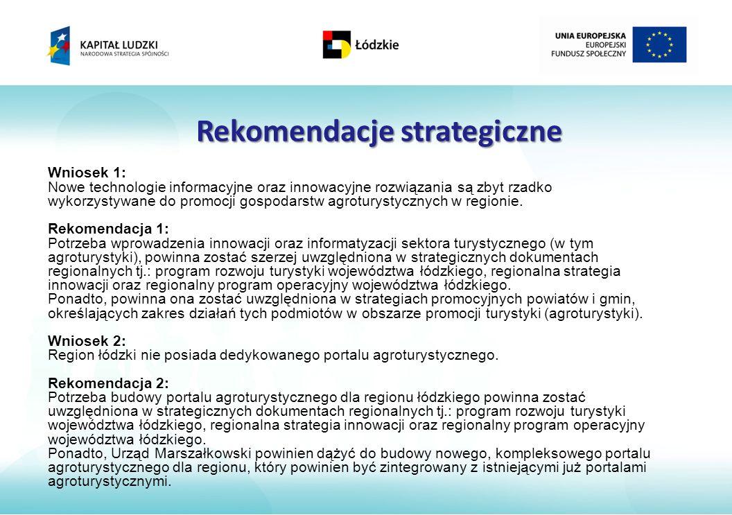 Rekomendacje strategiczne Wniosek 1: Nowe technologie informacyjne oraz innowacyjne rozwiązania są zbyt rzadko wykorzystywane do promocji gospodarstw agroturystycznych w regionie.