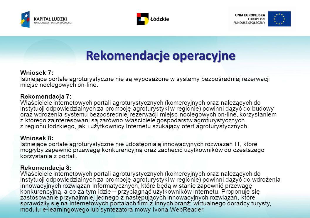 Rekomendacje operacyjne Wniosek 7: Istniejące portale agroturystyczne nie są wyposażone w systemy bezpośredniej rezerwacji miejsc noclegowych on-line.