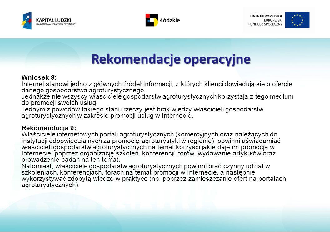 Rekomendacje operacyjne Wniosek 9: Internet stanowi jedno z głównych źródeł informacji, z których klienci dowiadują się o ofercie danego gospodarstwa agroturystycznego.
