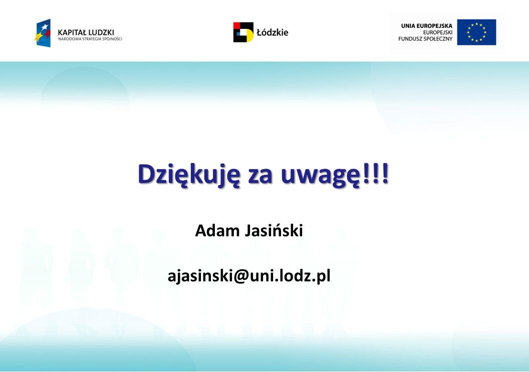 Dziękuję za uwagę!!! Adam Jasiński ajasinski@uni.lodz.pl