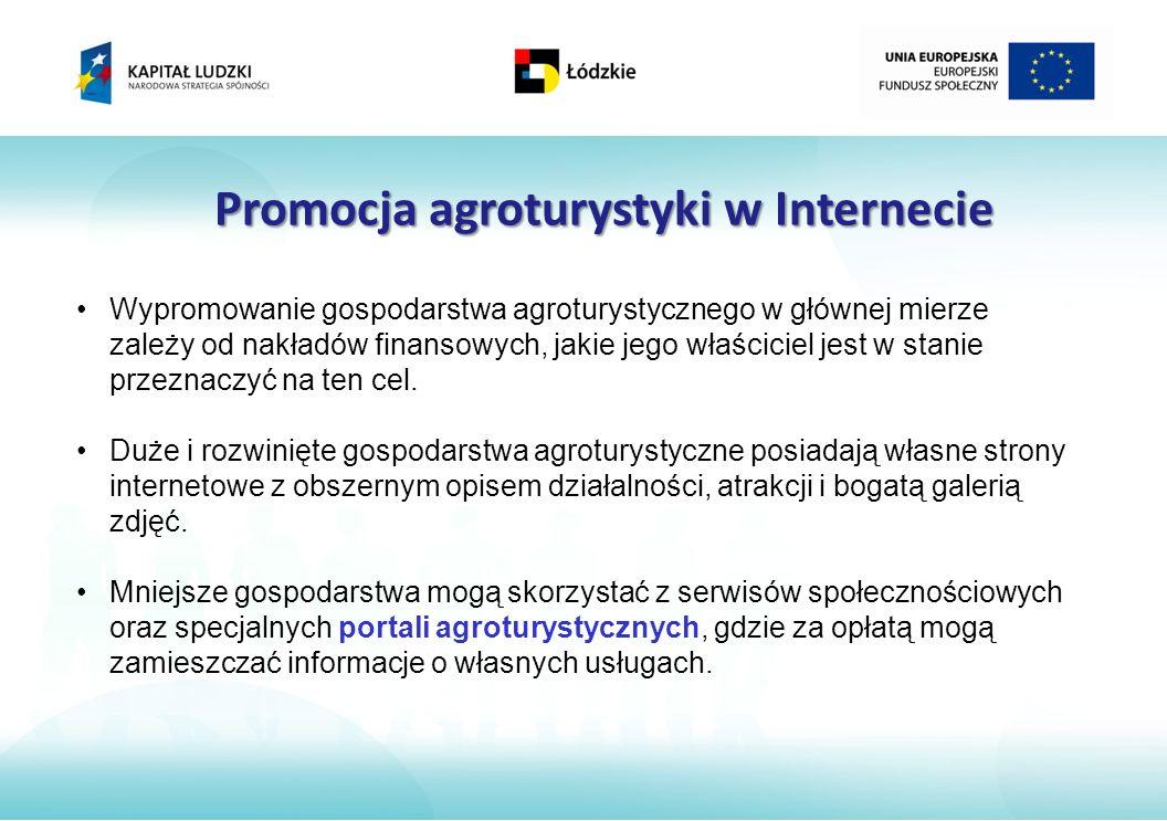 Promocja agroturystyki w Internecie Wypromowanie gospodarstwa agroturystycznego w głównej mierze zależy od nakładów finansowych, jakie jego właściciel jest w stanie przeznaczyć na ten cel.