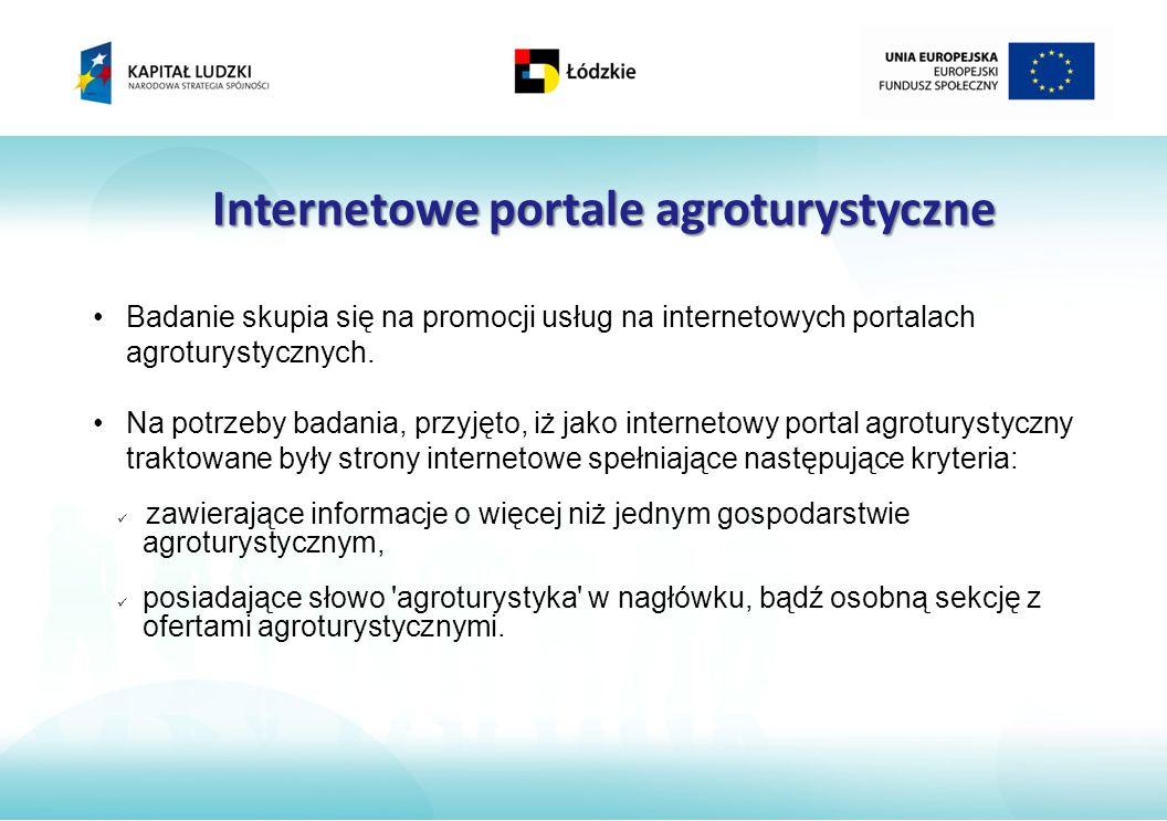 Internetowe portale agroturystyczne Badanie skupia się na promocji usług na internetowych portalach agroturystycznych.