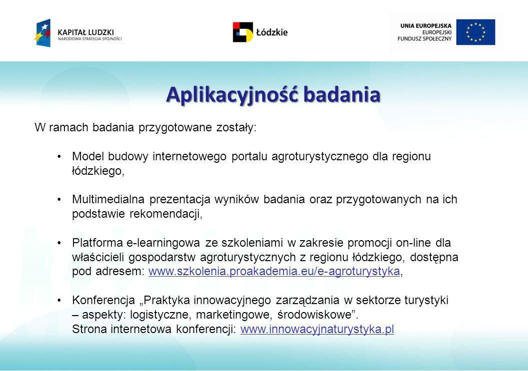 Aplikacyjność badania W ramach badania przygotowane zostały: Model budowy internetowego portalu agroturystycznego dla regionu łódzkiego, Multimedialna prezentacja wyników badania oraz przygotowanych na ich podstawie rekomendacji, Platforma e-learningowa ze szkoleniami w zakresie promocji on-line dla właścicieli gospodarstw agroturystycznych z regionu łódzkiego, dostępna pod adresem: www.szkolenia.proakademia.eu/e-agroturystyka, Konferencja Praktyka innowacyjnego zarządzania w sektorze turystyki – aspekty: logistyczne, marketingowe, środowiskowe.