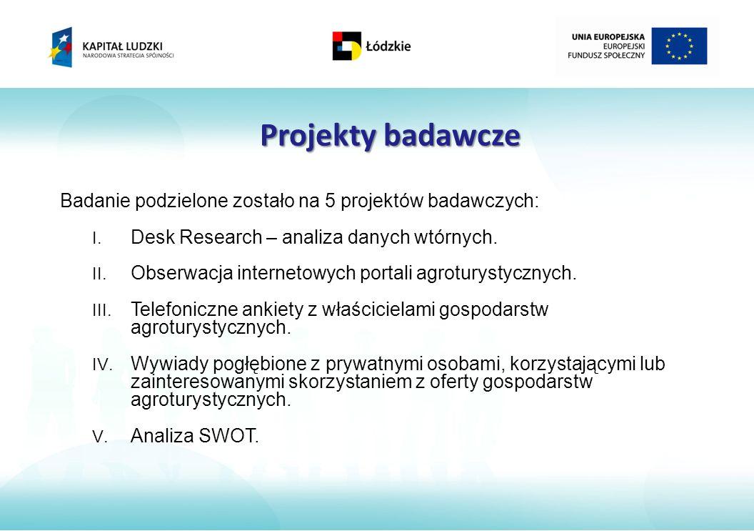 Projekty badawcze Badanie podzielone zostało na 5 projektów badawczych: I.