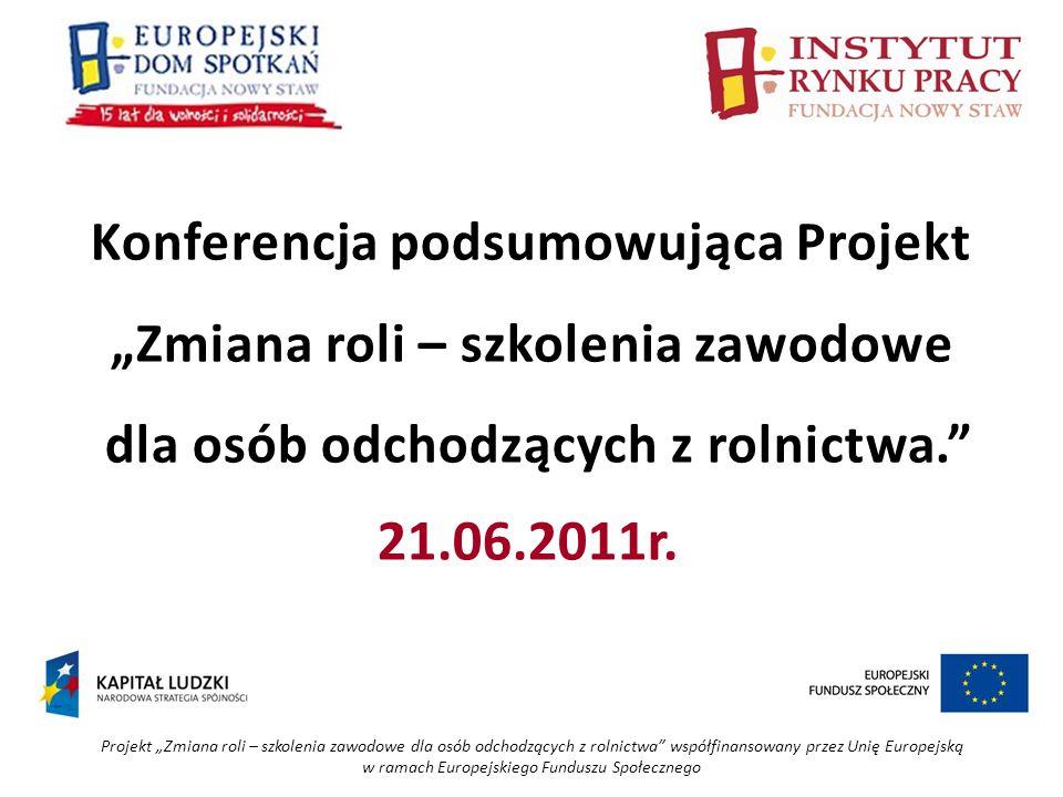 Projekt Zmiana roli – szkolenia zawodowe dla osób odchodzących z rolnictwa współfinansowany przez Unię Europejską w ramach Europejskiego Funduszu Społecznego Katarzyna Kańczugowska INSTYTUT RYNKU PRACY – FUNDACJA NOWY STAW