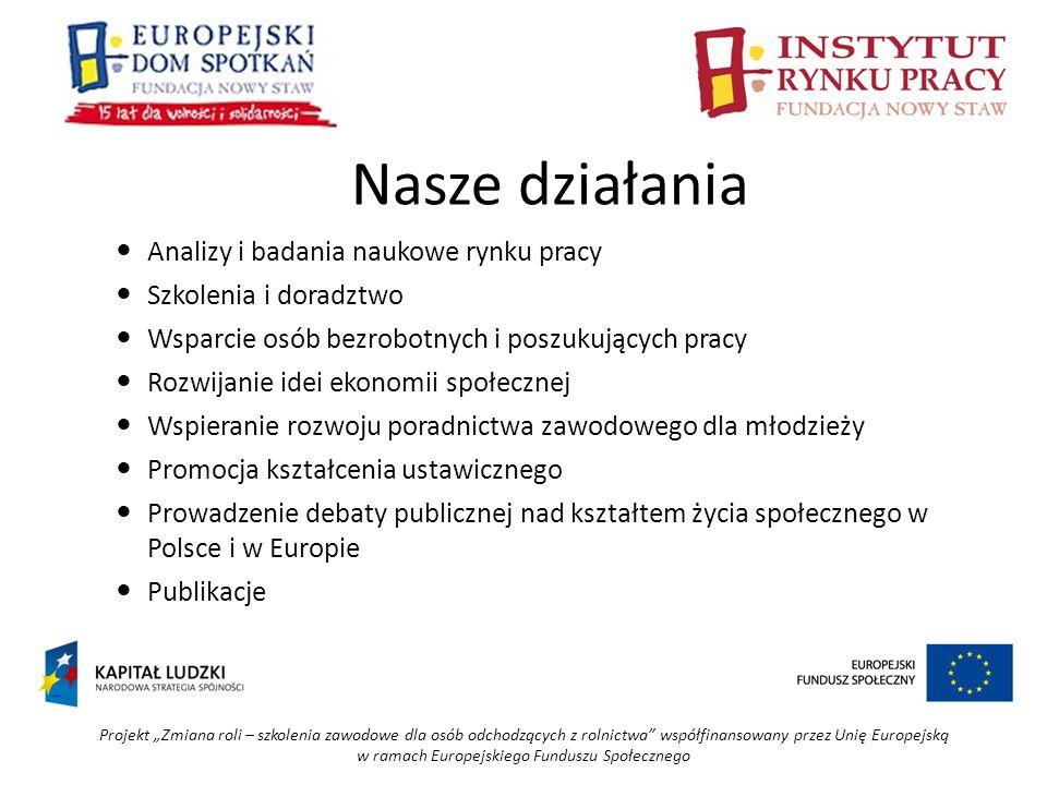Projekt Zmiana roli – szkolenia zawodowe dla osób odchodzących z rolnictwa współfinansowany przez Unię Europejską w ramach Europejskiego Funduszu Społecznego - badanie uczestników rynku pracy w Lublinie (młodzież, pracownicy, pracodawcy, bezrobotni) -analizy rynku pracy (edukacja, kształcenie ustawiczne, przedsiębiorczość) -badanie pracodawców w zakresie gotowości zatrudniania cudzoziemców i oceny ich pracy -badanie imigrantów zarobkowych na temat uwarunkowań pracy w Polsce -badanie studiujących w Polsce obywateli Ukrainy i Białorusi na temat atrakcyjności Polski i polskiego rynku pracy Analizy i badania naukowe rynku pracy