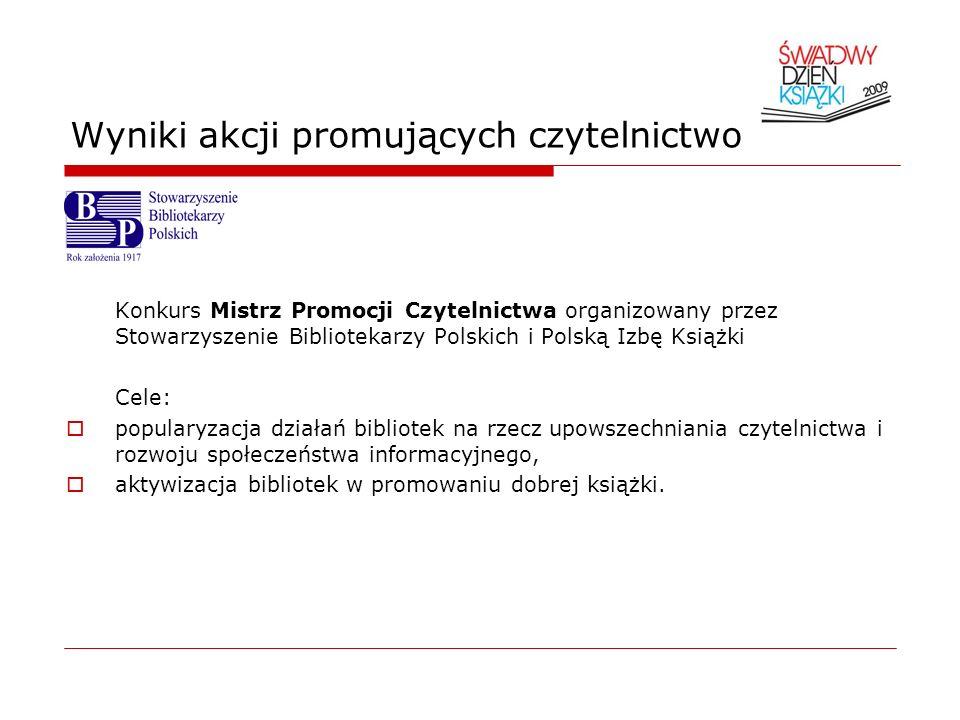 Wyniki akcji promujących czytelnictwo Konkurs Mistrz Promocji Czytelnictwa organizowany przez Stowarzyszenie Bibliotekarzy Polskich i Polską Izbę Ksią