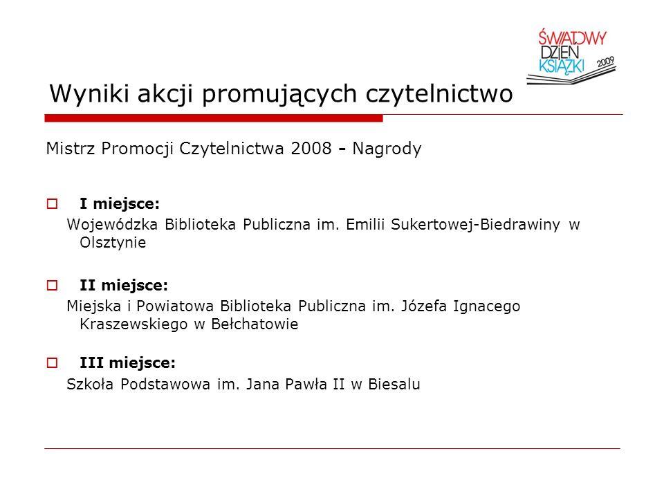 Wyniki akcji promujących czytelnictwo Mistrz Promocji Czytelnictwa 2008 - Nagrody I miejsce: Wojewódzka Biblioteka Publiczna im. Emilii Sukertowej-Bie